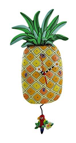Allen Designs Pineapple Time Parrot Pendulum Wall Clock 17 in