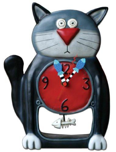 Black Kitty Pendulum Clock by Allen Designs