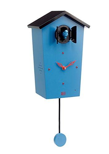 KOOKOO Birdhouse Blue Modern Cuckoo Clock w 12 Natural Bird Voices or Cuckoo Call Design Clock w Pendulum Natural Field Recordings by Jean-Claude Roché