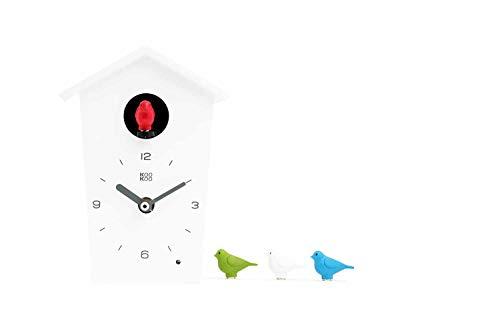 KOOKOO Birdhouse Mini White Tiny Modern Cuckoo Clock w 12 Natural Bird Voices or Cuckoo Call Design Clock Natural Field Recordings by Jean-Claude Roché