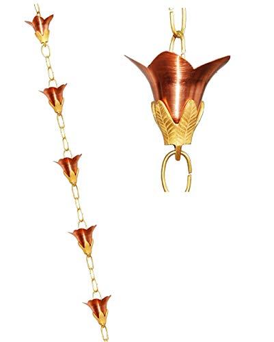 U-nitt 8-12 feet Pure Copper Rain Chain for Gutter Flower with Embossed Brass 85 ft Length 5511
