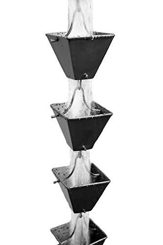 Medium Black Square Aluminum Cups Rain Chain with Installation Kit 9 Foot