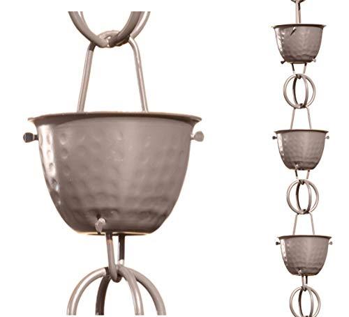 Monarch Aluminum Hammered Cup Rain Chain 8-12 Feet Length Musket Brown