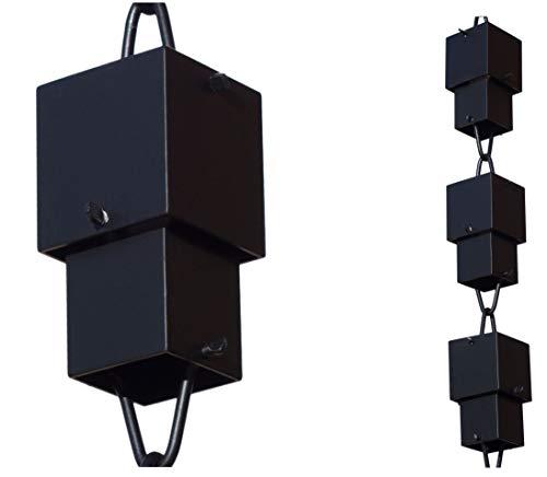 Monarch Aluminum Square Cups Rain Chain 8-12 Feet Length Black Powder Coated