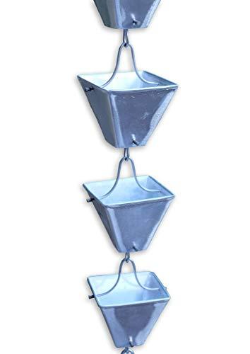 Rainchains Inc Aluminum Medium Square Cups RAIN Chain with Installation KIT 10 Feet
