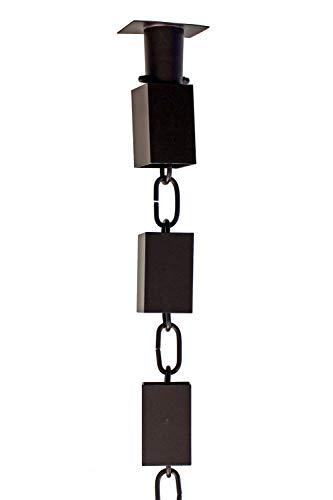 Square KENCHIKU Aluminum RAIN Chain - Bronze Powder Coat with Installation KIT 9 Foot