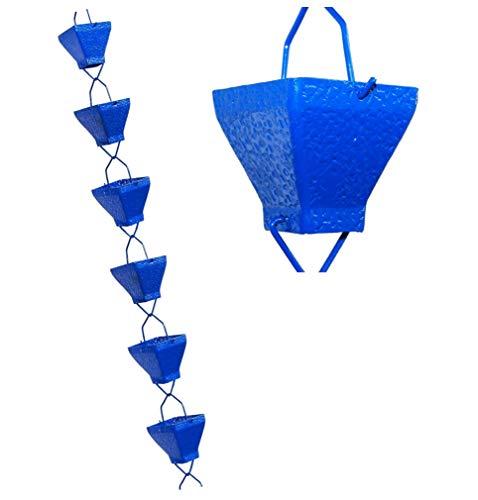 U-nitt 8-12 feet Rain Chain for Gutter Aluminum Square Cup Blue Textured 85 ft Length 5517BLU
