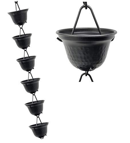 U-nitt 8-12 feet Rain Chain for Gutter Tealight Cup Aluminum Length 85 feet 3124BLK
