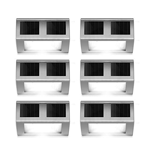 HIGUNE Outdoor Solar Powered LED Stainless Wall Light Step Light for Patio Deck Yard Garden Fence Roof Gutter Sun Power Smart Security Light6-Pack
