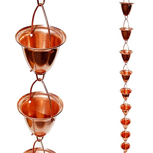Stanwood Rain Chain Large CupBell Copper Rain Chain 8-Feet