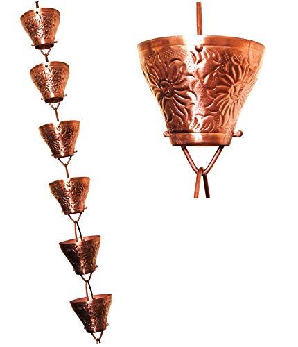 U-nitt 8-12 feet Pure Copper Rain Chain Embossed Sunflower 85 ft Length 5501