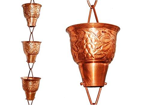 U-nitt 8-12 feet Pure Copper Rain Chain for Gutter Grape Vine Embossed 85 ft Length 5502