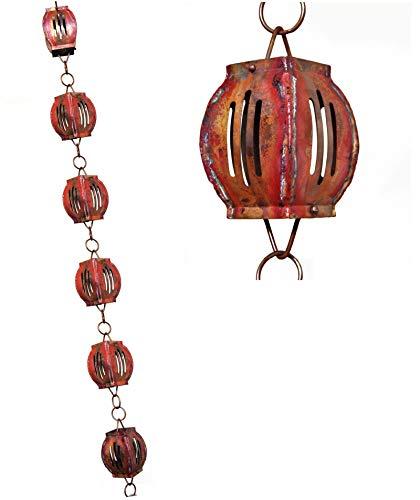 U-nitt 8-12 feet Pure Copper Rain Chain for Gutter Slotted Drum 85 ft Length 8563