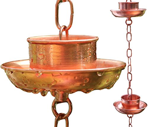 Rain Chain - Pure Copper - By Golden Canary 6 Foot Long Ready To Install In Gutter Decorative Downspout Replacement