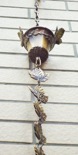 Brass Maple Leaves Rain Cup  Rain Chain 106&quotinches H