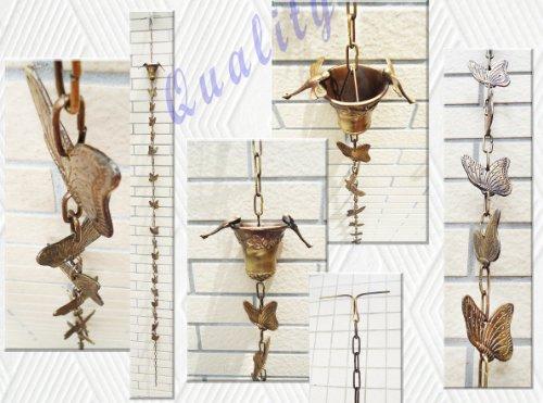 Brass Rain Chain  Brass Rain Cups With 2 Dragonfliesamp Butterflies - 97&quot Inches H
