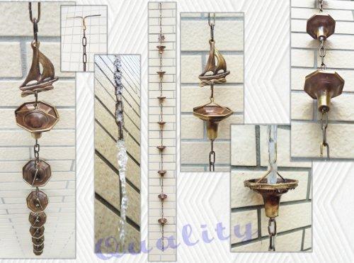 Brass Rain Chain  Brass Rain Cups With A Sail - 86&quot Inches H