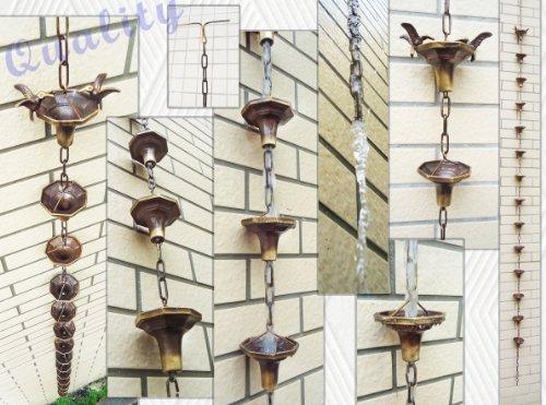 Brass Rain Ups  Brass Rain Chain With 2 Hummingbirds - 108&quot Inches H