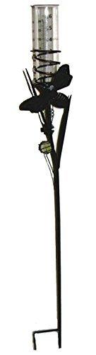 36 Garden Decorative Rain Gauge Metal W Glass Beaker Moth
