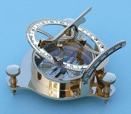 Brass SundialMagnetic Nautical Compass w Hardwood Case