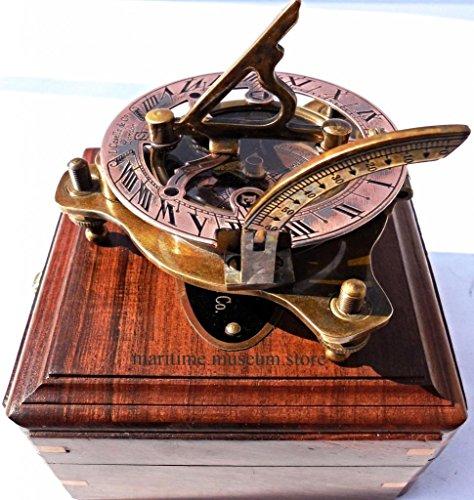 Captains Brass Sundial Compass Marine Compasses Nautical Compass Adjustable Screw Legs C-3037
