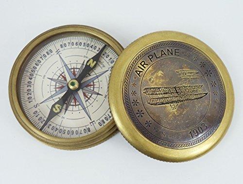 Dorpmarket Handmade Air Plane Brass Sundial Compass Collectibles Navigation Gift
