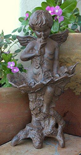 Large Cast Iron Garden Winged Angel Statue Cherub Bird Feeder