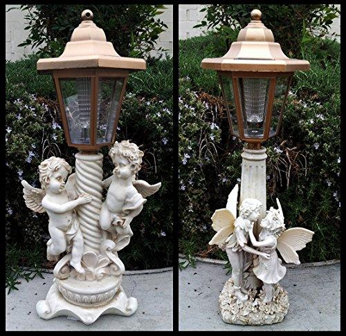 2-pk Solar Garden Decor 1 Girl And Boy Fairyamp 1 Twin Boy Angels Sculpture Light