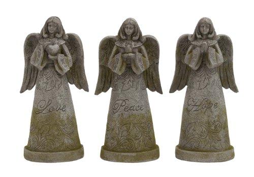 Deco 79 Polystone Garden Angel Sculpture 9-Inch by 17-Inch Set of 3
