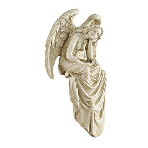 Design Toscano Resting Grace Sitting Angel Sculpture in Stone Size Medium