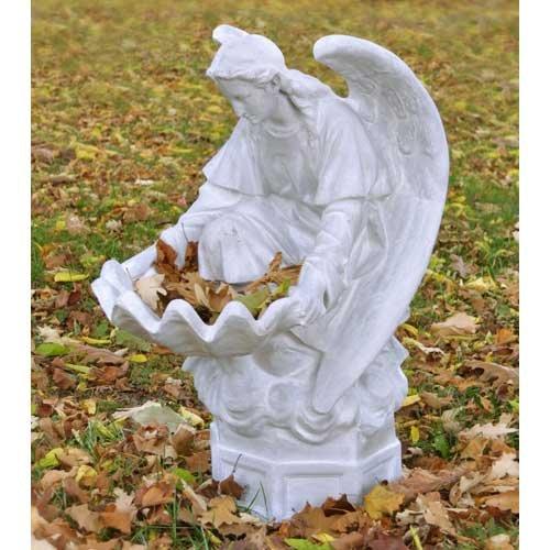 OrlandiStatuary FS7391 Fegana Angel Sculpture 32 White Moss Finish