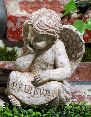 Garden Angel Statue Cherub Believe From Grasslands