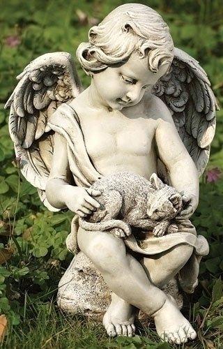Joseph Studio 12&quot Cherub Angel With Kitten Cat Outdoor Garden Figure