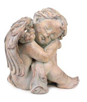 Pack Of 2 Antique Brown Finish Sleeping Cherub Angel Garden Patio Figures 8&quot