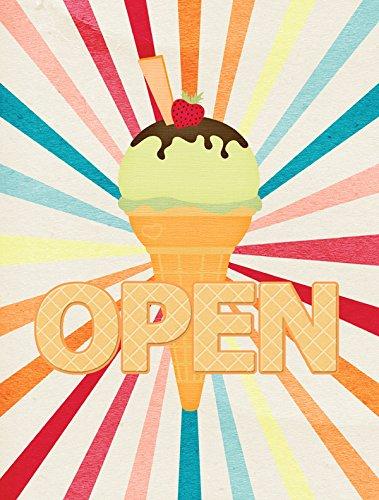 Carolines Treasures SB3113GF Ice Cream Shop Or Stand Open Flag Small Multicolor