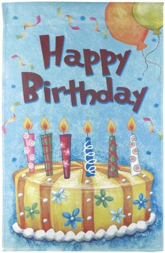 Happy Birthday Lawn Flag - Large Birthday Cake Flag- Ganz Garden Accents House Flag 28 x 43 Inch