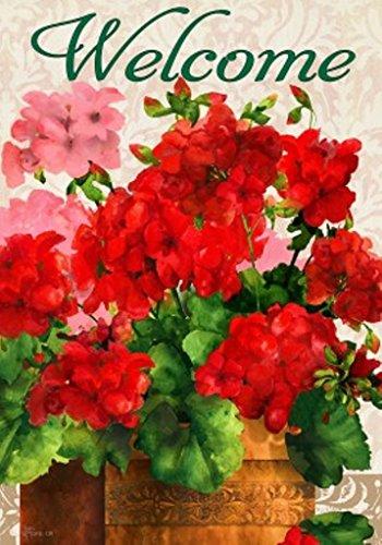 Custom D&eacutecor Red Geraniums Garden Flag 2594fm