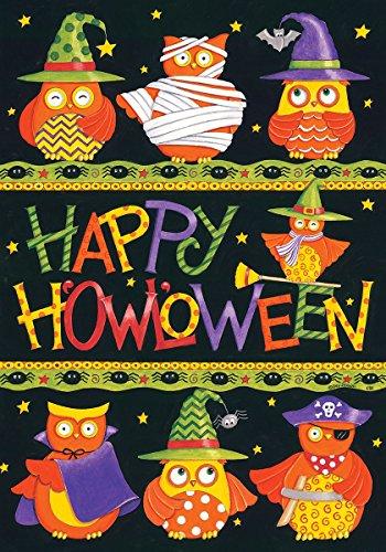 Happy Halloween Owls In Costumes 12 X 18 Inch Garden Flag Custom D&eacutecor