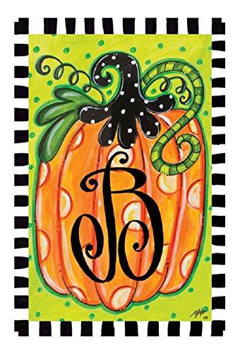 Polka Dot Pumpkin Monogram B 12&quotx18&quot Garden Flag - Custom Decor