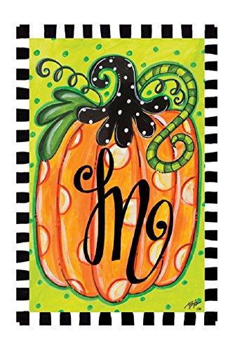 Polka Dot Pumpkin Monogram M 12&quotx18&quot Garden Flag - Custom Decor