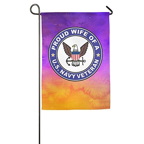 Proud Wife Of A US Navy Veteran Custom Garden Flags