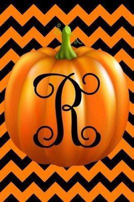 Pumpkin Chevron Monogram R Double Sided 12 X 18 Inch Garden Flag Custom D&eacutecor
