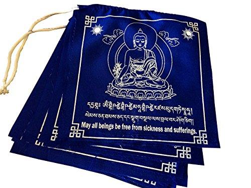 Tibetan Prayer Flags Large Solid Blue Color Medicine Buddha Healing Flags