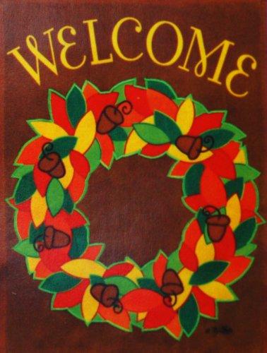 Welcome Autumn Wreath - Fall Garden Flag - Appliquéd Small 125 x 18 for Halloween Thanksgiving Yard Porch House Banner