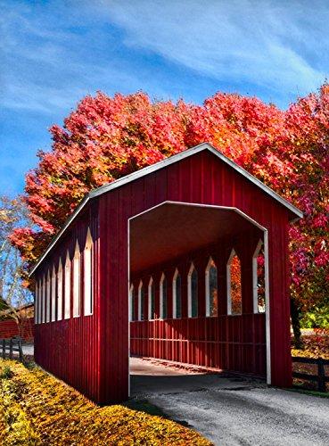Country Lane Fall Garden Flag Covered Bridge Autumn Leaves 125 x 18