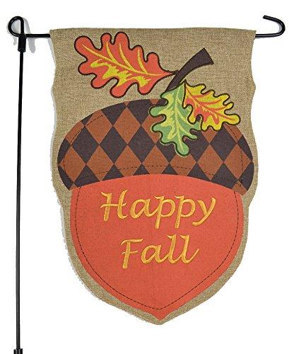 Fall Garden Flag With Happy Fall Acorn - 12x18 On Burlap - Home Garden Flag Autumn Garden Flag