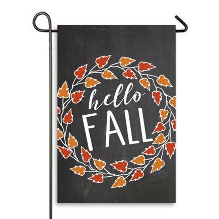 Hello Fall Garden Flag Outdoor Patio Seasonal Holiday Fabric 125 X 18