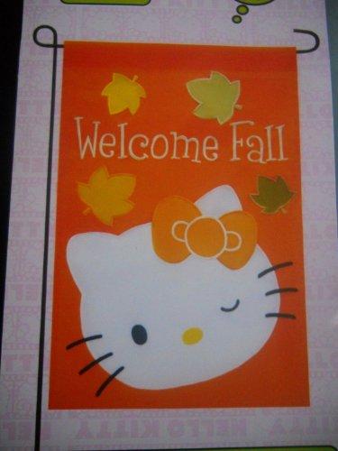 Hello Kitty  Welcome Fall  Garden Flag 12  X 18