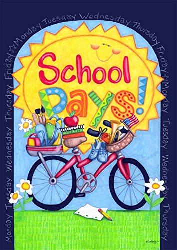 School days Fall Garden Flag Smiley Sun Bicycle Weekdays 125x18