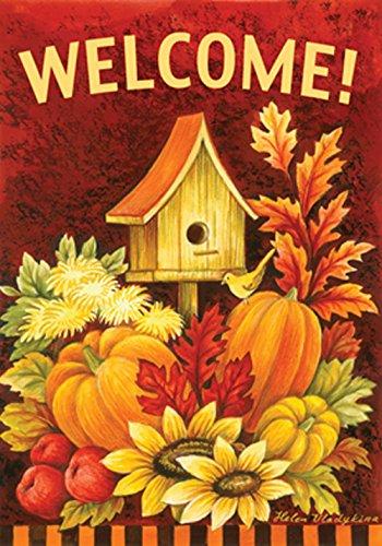 Toland - Fall Birdhouse - Decorative Double Sided Autumn Welcome Harvest Usa-produced Garden Flag